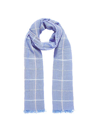 Buy Brora Cashmere Windowpane Stole, Iris, One Size Online at johnlewis.com