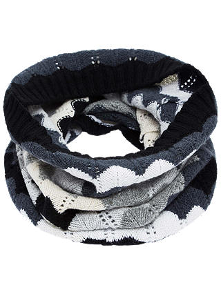 Buy Brora Cashmere Wave Knit Snood, Monochrome, One Size Online at johnlewis.com