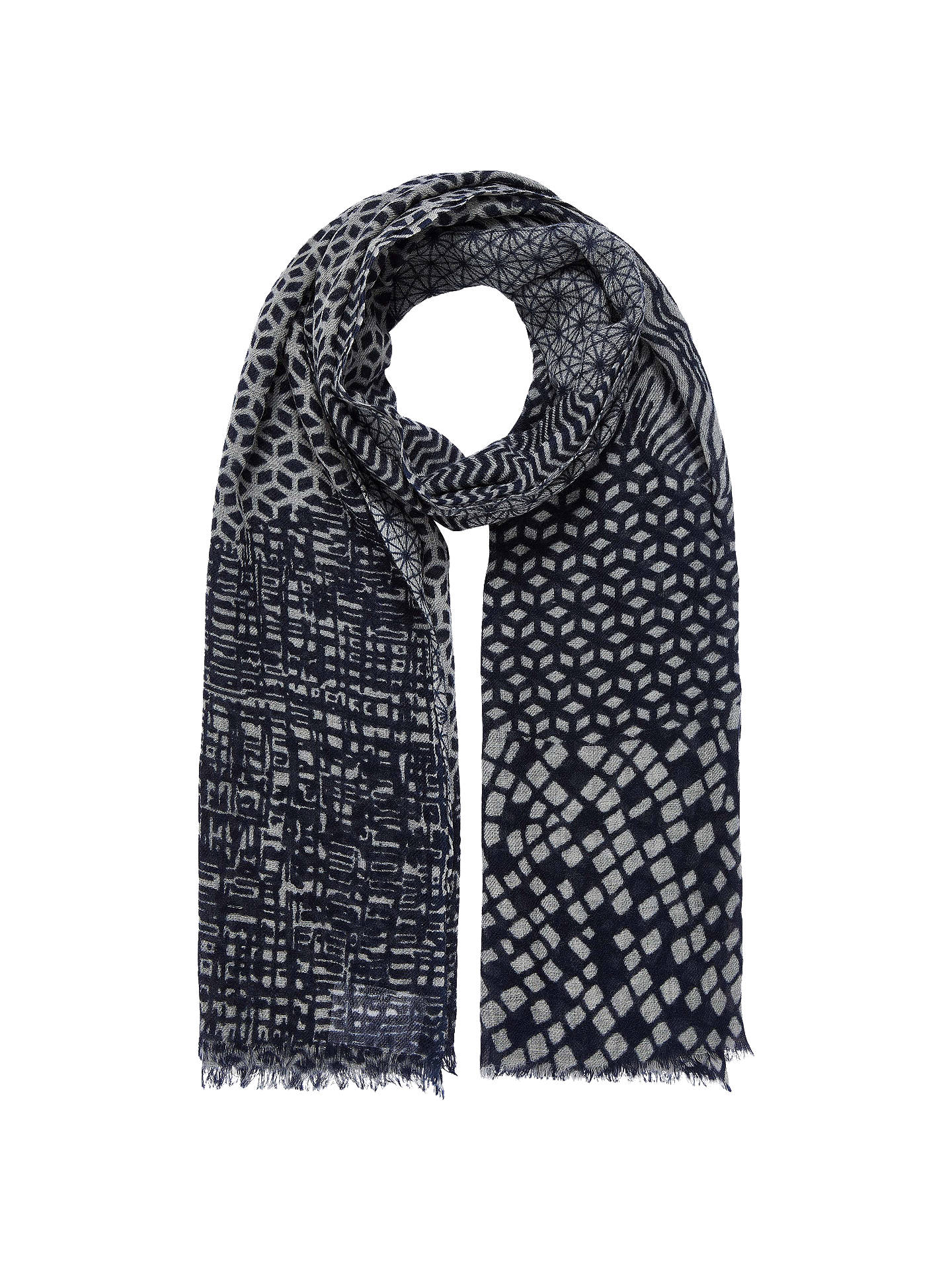 Buy Brora Graphic Print Woolen Stole, Blue Ink/Silver Online at johnlewis.com