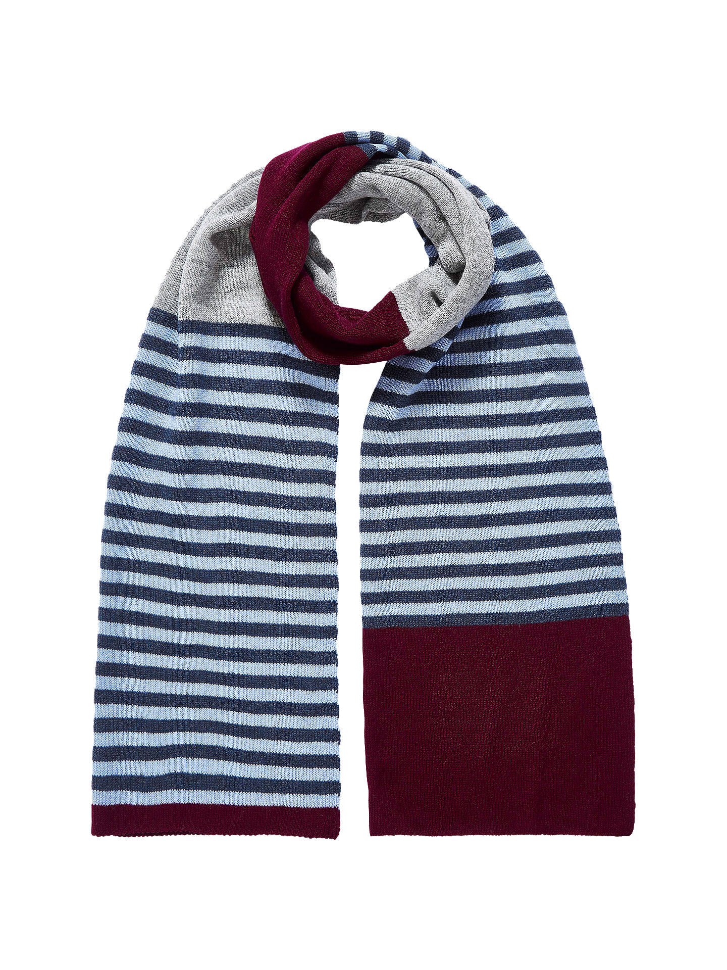 Buy Brora Colour Block Stripe Cashmere Scarf, Port, One Size Online at johnlewis.com