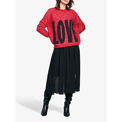 hush Big Love Print Knitted Jumper, Red/Black
