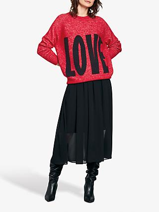hush Big Love Print Knitted Jumper, Red/Black