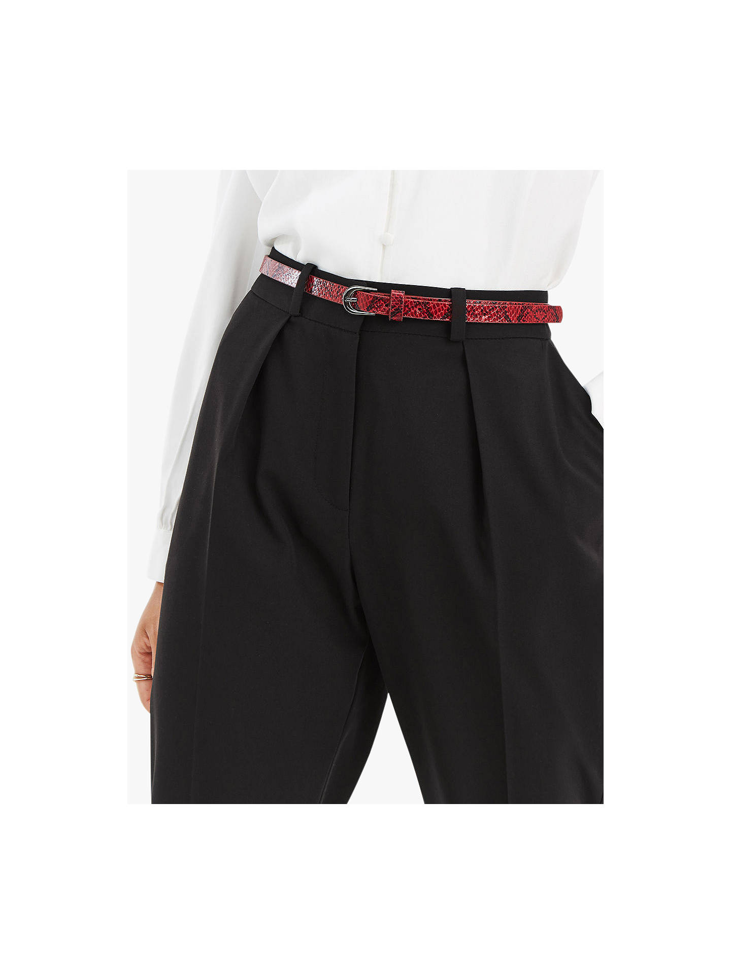 BuyOasis Belted Peg Trousers, Black, 12R Online at johnlewis.com
