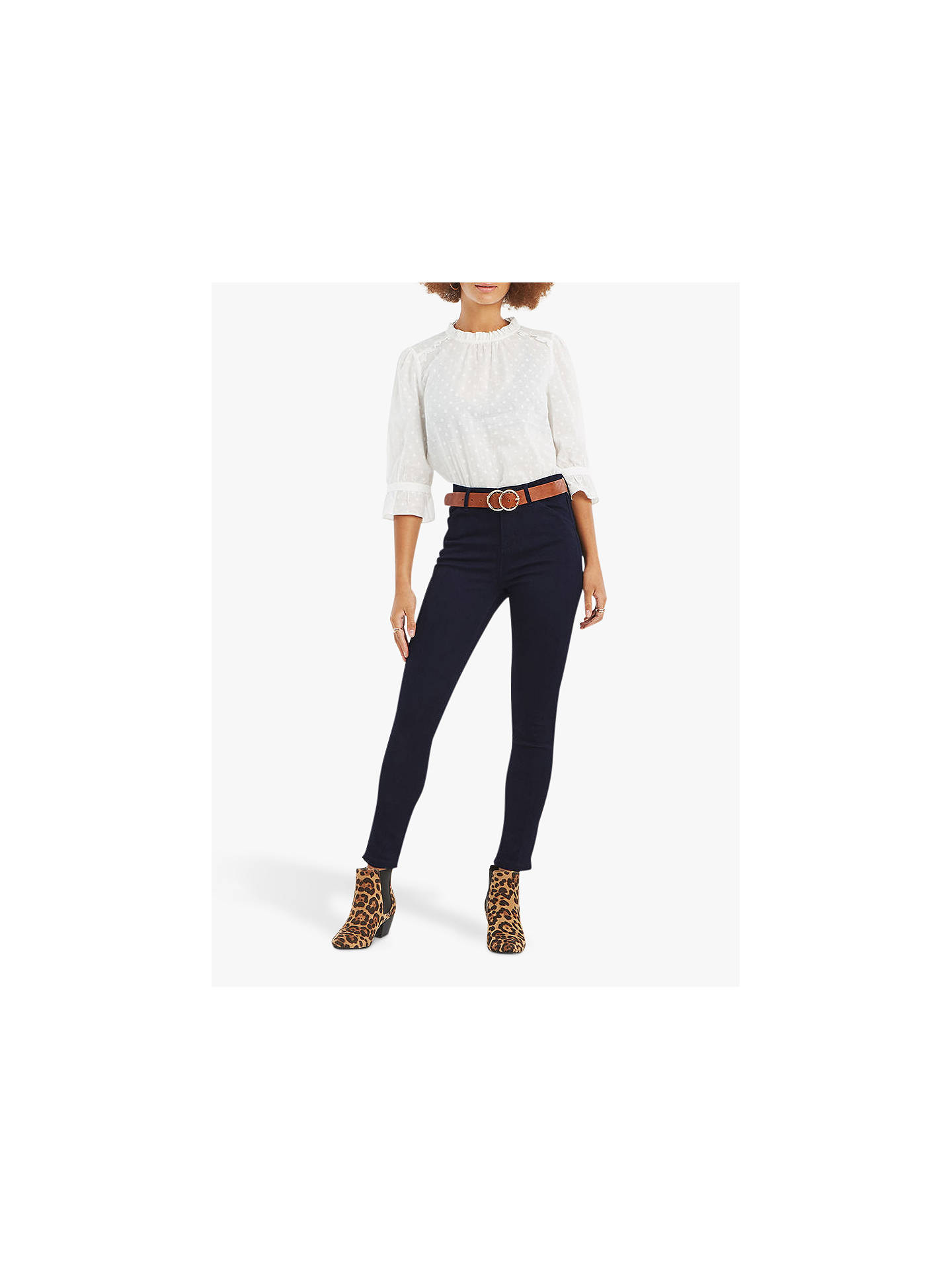 be70c6b3c395 Buy Oasis Grace Capri Jeans, Navy, 6 Online at johnlewis.com ...