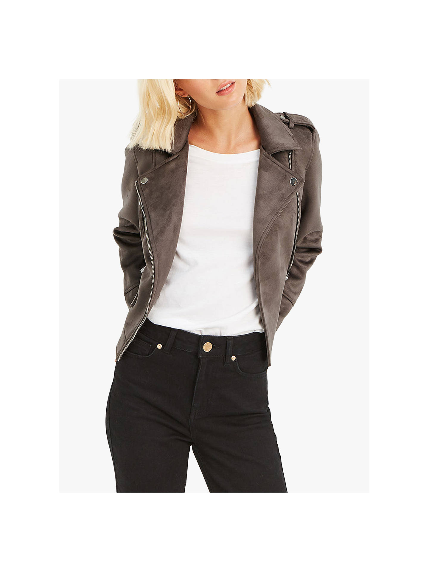 7a780b2c9e65 Buy Oasis Faux Suede Biker Jacket, Mid Grey, S Online at johnlewis.com ...