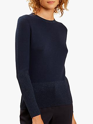 Fenn Wright Manson Ribbed Sleeve Martina Jumper, Navy