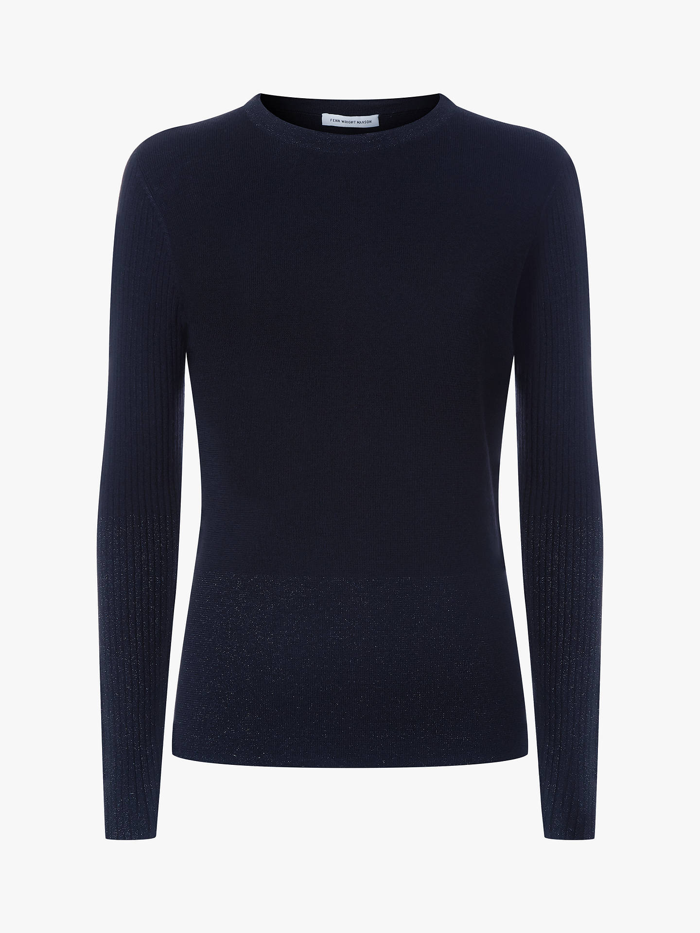 Buy Fenn Wright Manson Ribbed Sleeve Martina Jumper, Navy, XS Online at johnlewis.com