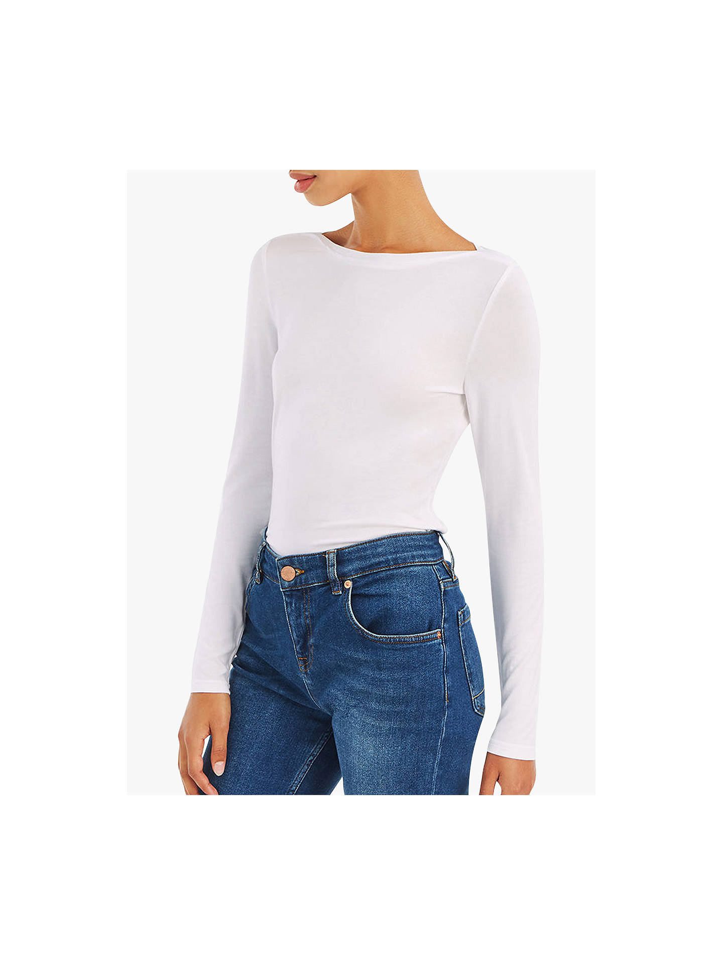 BuyOasis Envelope Neck Top, White, XS Online at johnlewis.com