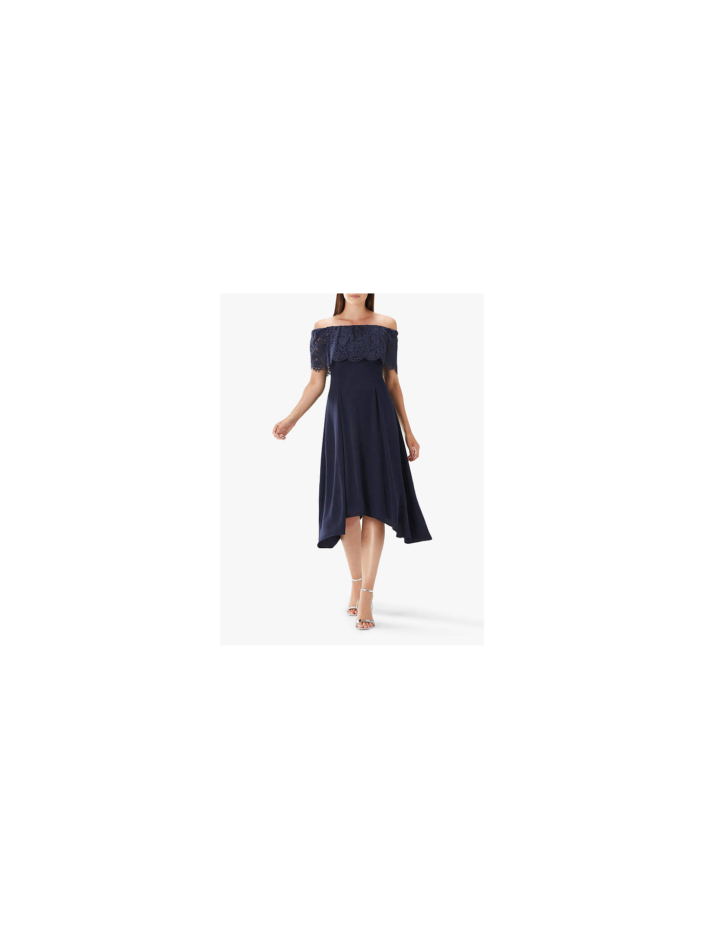 d6625bd718f5 Buy Coast Oriel Lace Bardot Dress, Navy, 24 Online at johnlewis.com ...