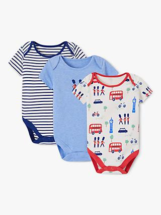John Lewis & Partners Baby London Theme Short Sleeve Bodysuits, Pack of 3, Multi