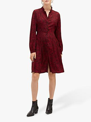 Warehouse Ditsy Leopard Dress, Red