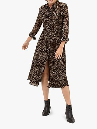 Warehouse Leopard Print Midi Shirt Dress, Brown