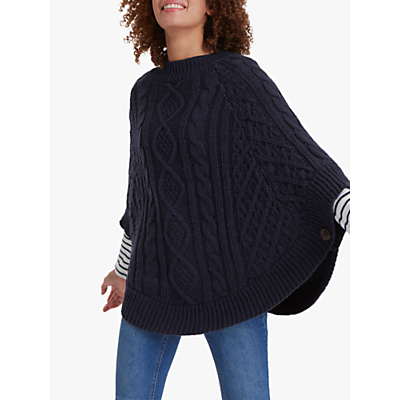 Joules Chunky Cable Knit Button Poncho, French Navy