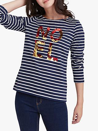 Joules Noel Sequin Detail Stripe Jersey Top, French Navy