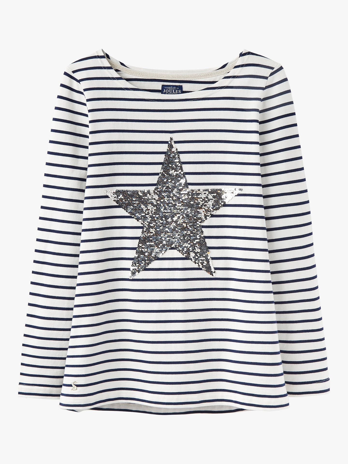 47edb722 ... Buy Joules Harbour Sequin Star Jersey Long Sleeve Top, Cream, 18 Online  at johnlewis ...