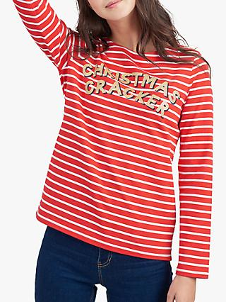 Joules Christmas Cracker Harbour Jersey Top, Red/Multi
