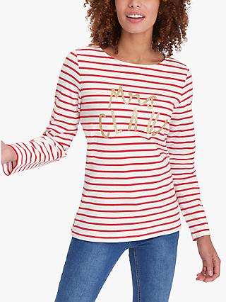 Joules Mrs Claus Harbour Jersey Top, Cream Red