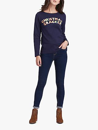 Joules Christmas Cracker Harbour Jersey Top, Navy Christmas