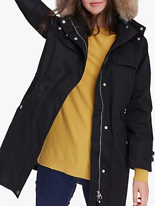 Joules Aspen Faux Fur Waterproof Cotton Parka, Black