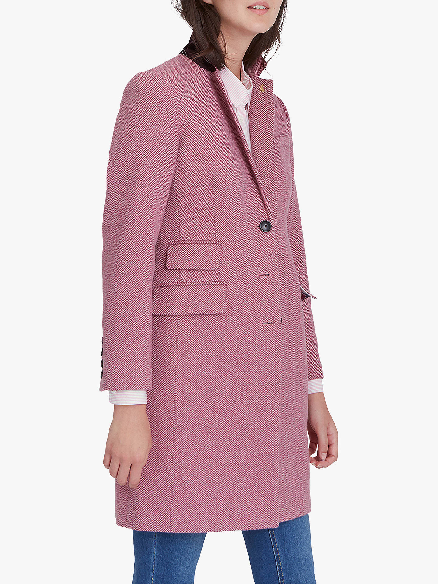Joules Womens Cheltenham Tweed Coat in RASPBERRY