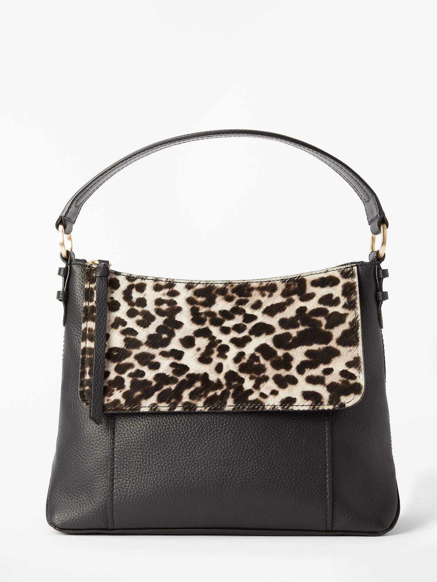 b90e7250755 Buy Boden Walcot Snow Leopard Print Leather & Hide Cross Body Bag,  Black/Snow ...