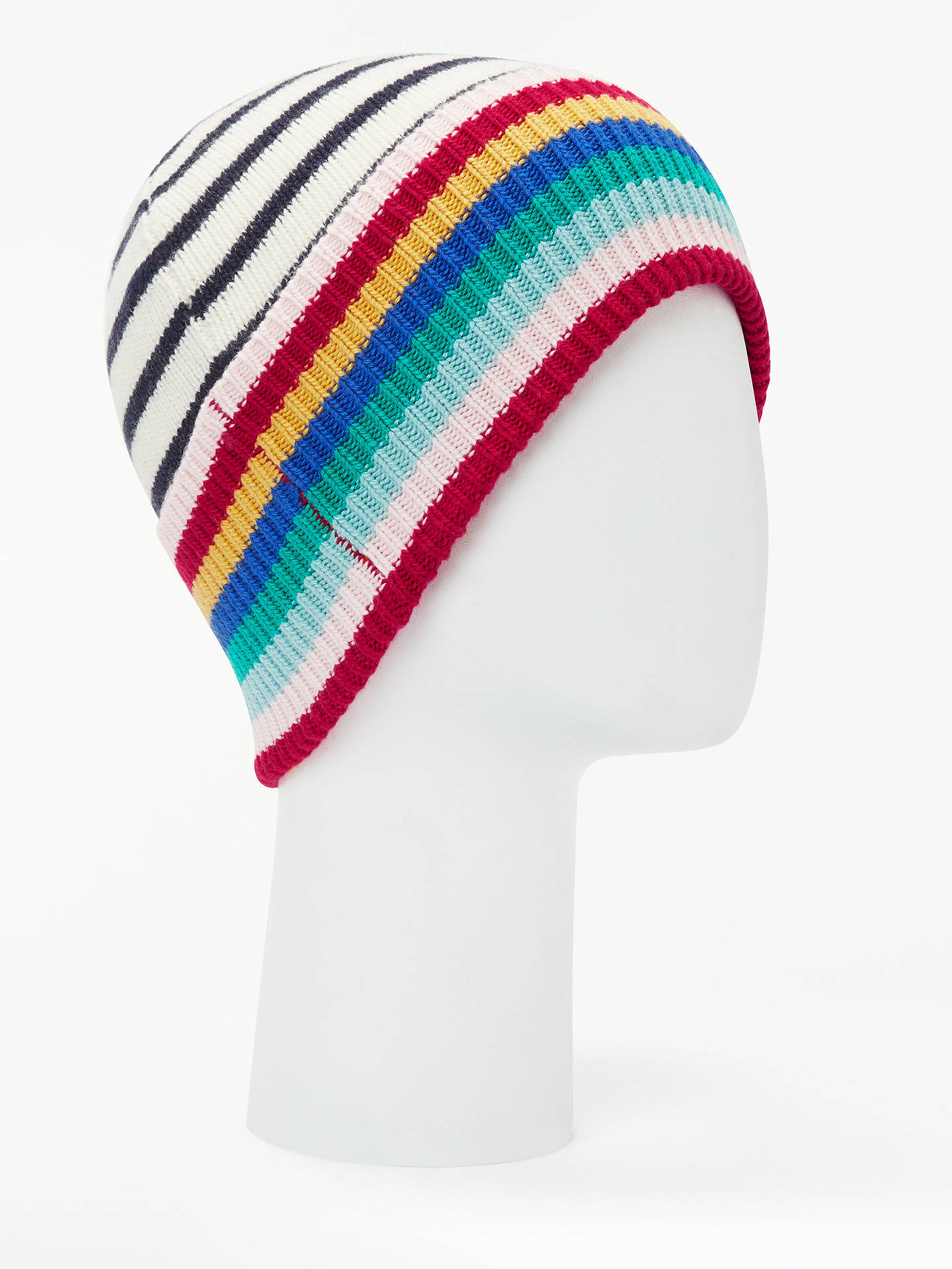 BuyBoden Stripe Detail Wool Blend Beanie Hat, Ivory/Navy Online at johnlewis.com