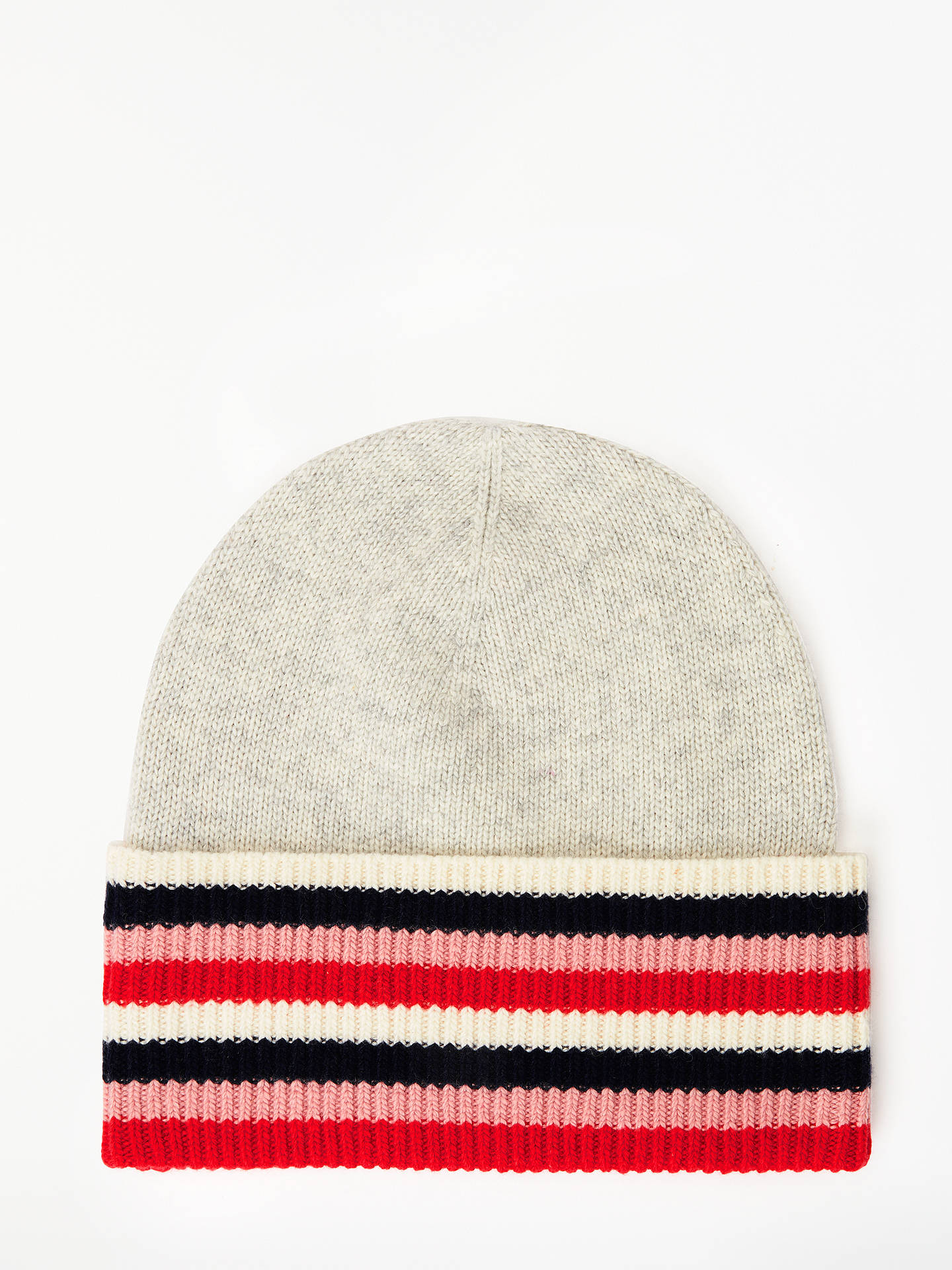 BuyBoden Stripe Detail Wool Blend Beanie Hat, Silver Melange Online at johnlewis.com