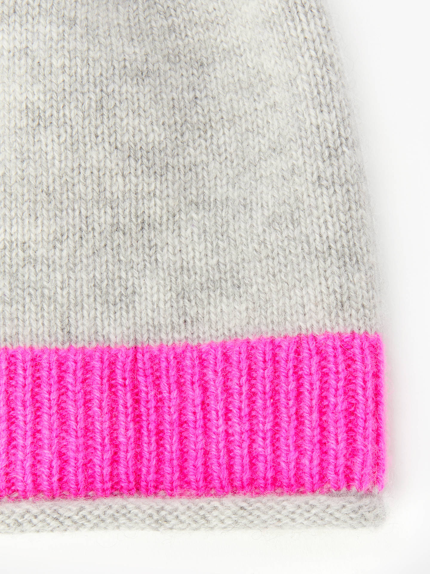 BuyBoden Stripe Detail Cashmere Beanie Hat, Grey Melange Online at johnlewis.com