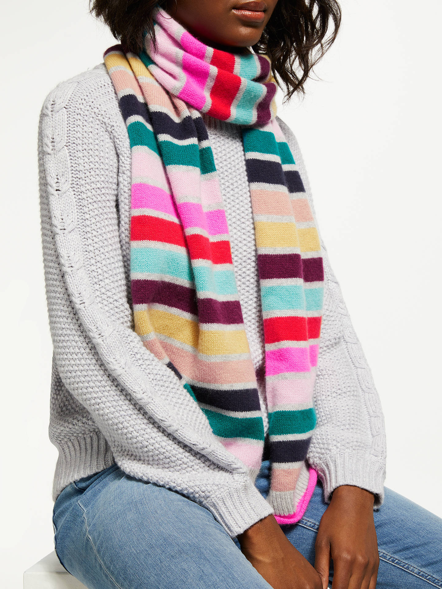Buy Boden Cashmere Stripe Scarf, Multi Online at johnlewis.com