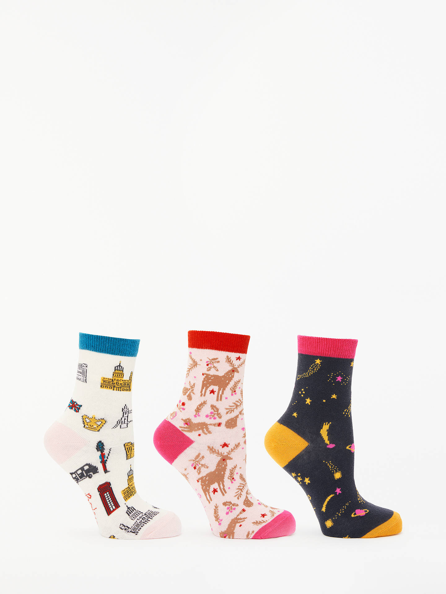 Buy Boden Novelty Print Ankle Socks, Pack of 3, Multi Christmas, One Size Online at johnlewis.com