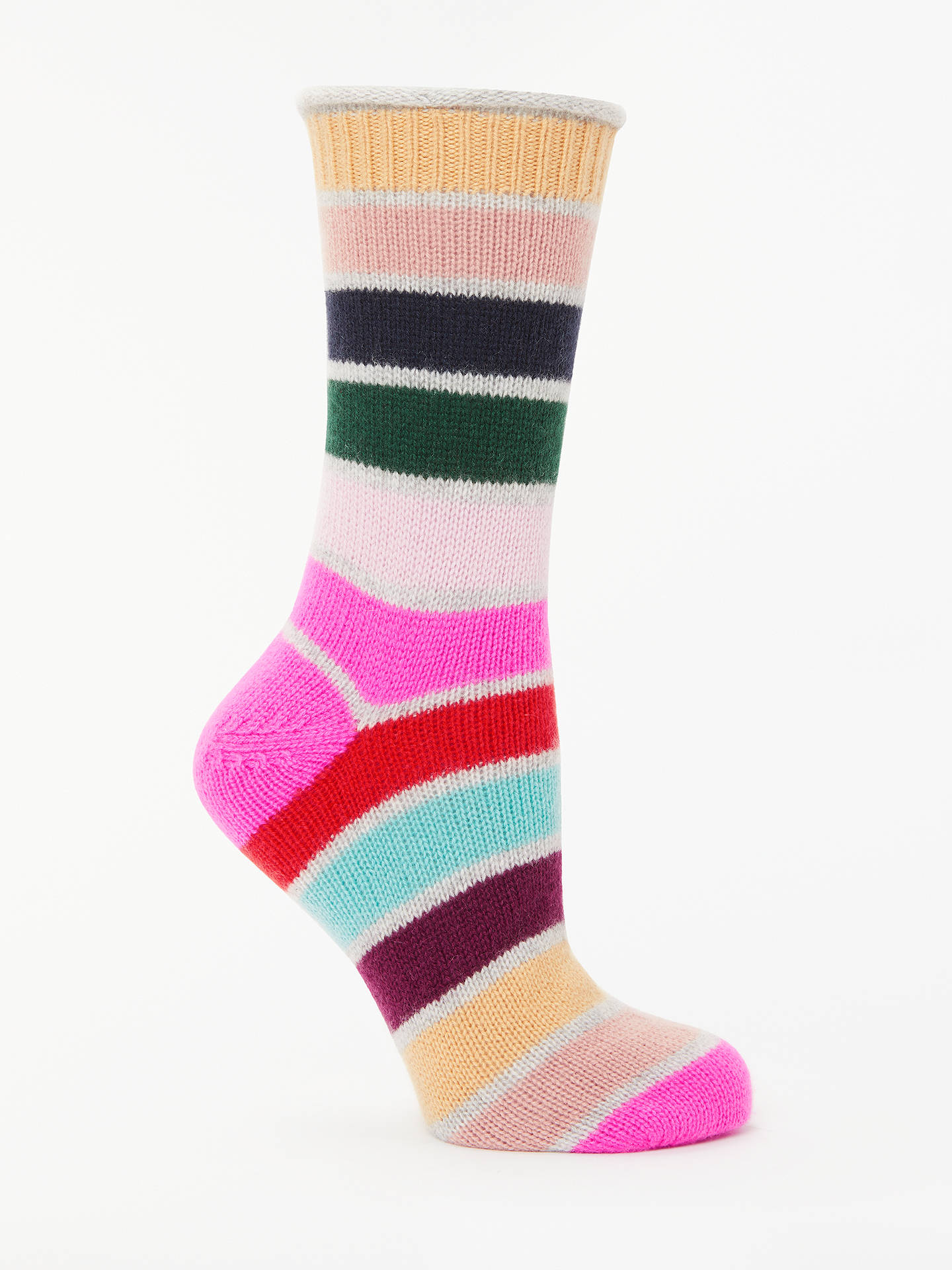 BuyBoden Stripe Cashmere Ankle Socks, Multi Stripe, One Size Online at johnlewis.com