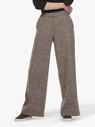 Brora Harris Wide Tweed Wool Trousers, Ocean/Pine