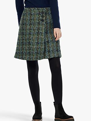 Brora Tweed Wrap Skirt, Ocean and Pine