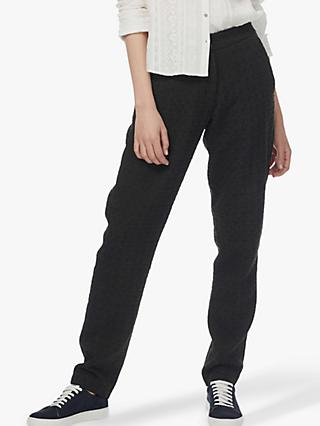 Brora Textured Wool Mix Trousers, Charcoal