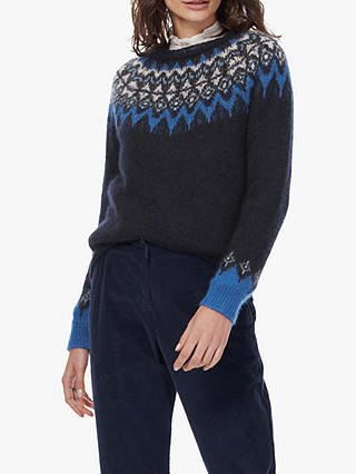 Buy Brora Patterned Mohair-Blend Jumper, Raven, 14 Online at johnlewis.com