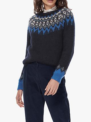 Brora Patterned Mohair-Blend Jumper