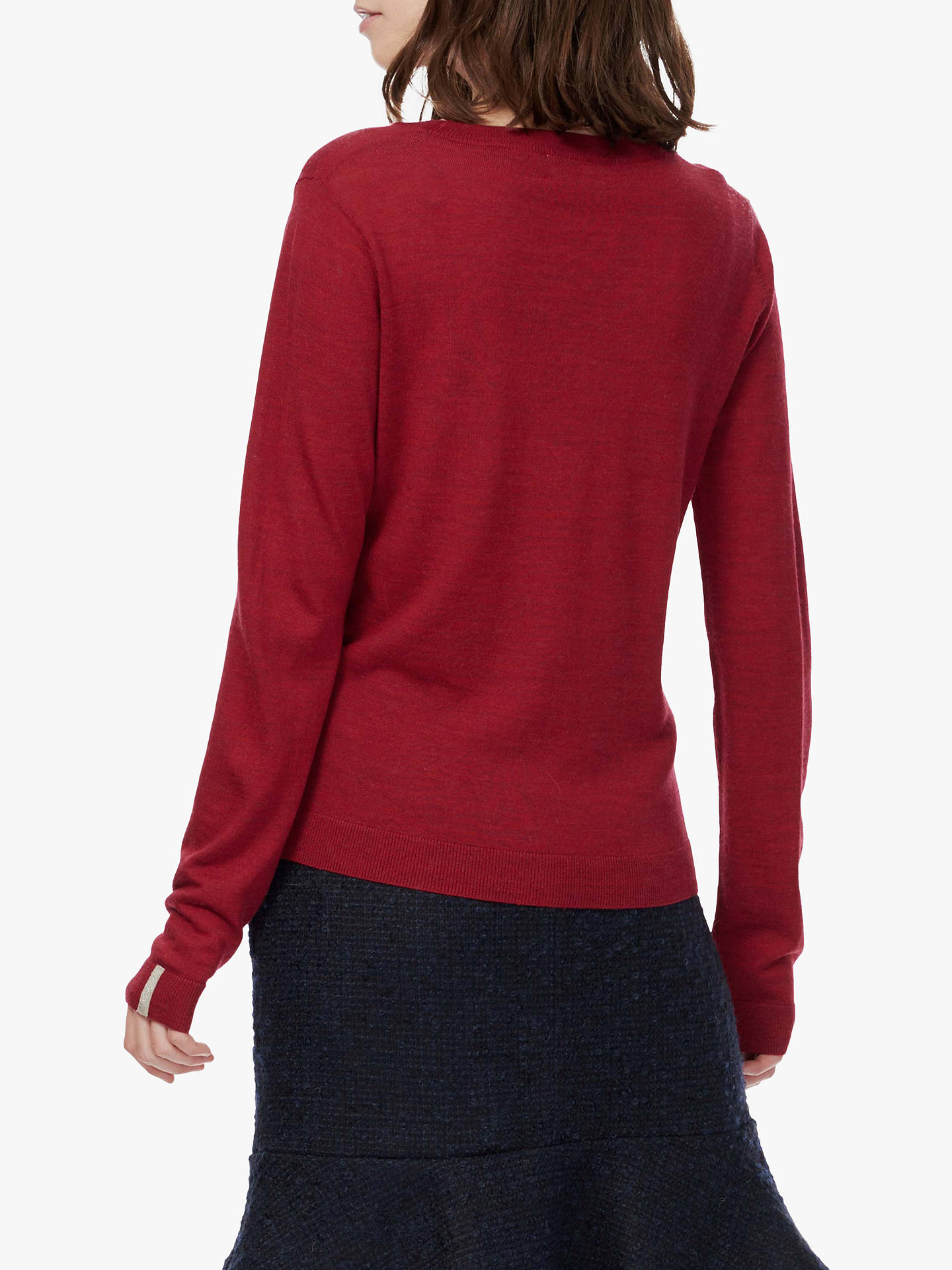 BuyBrora Embroidered Typography Merino Jumper, Ruby, 8 Online at johnlewis.com