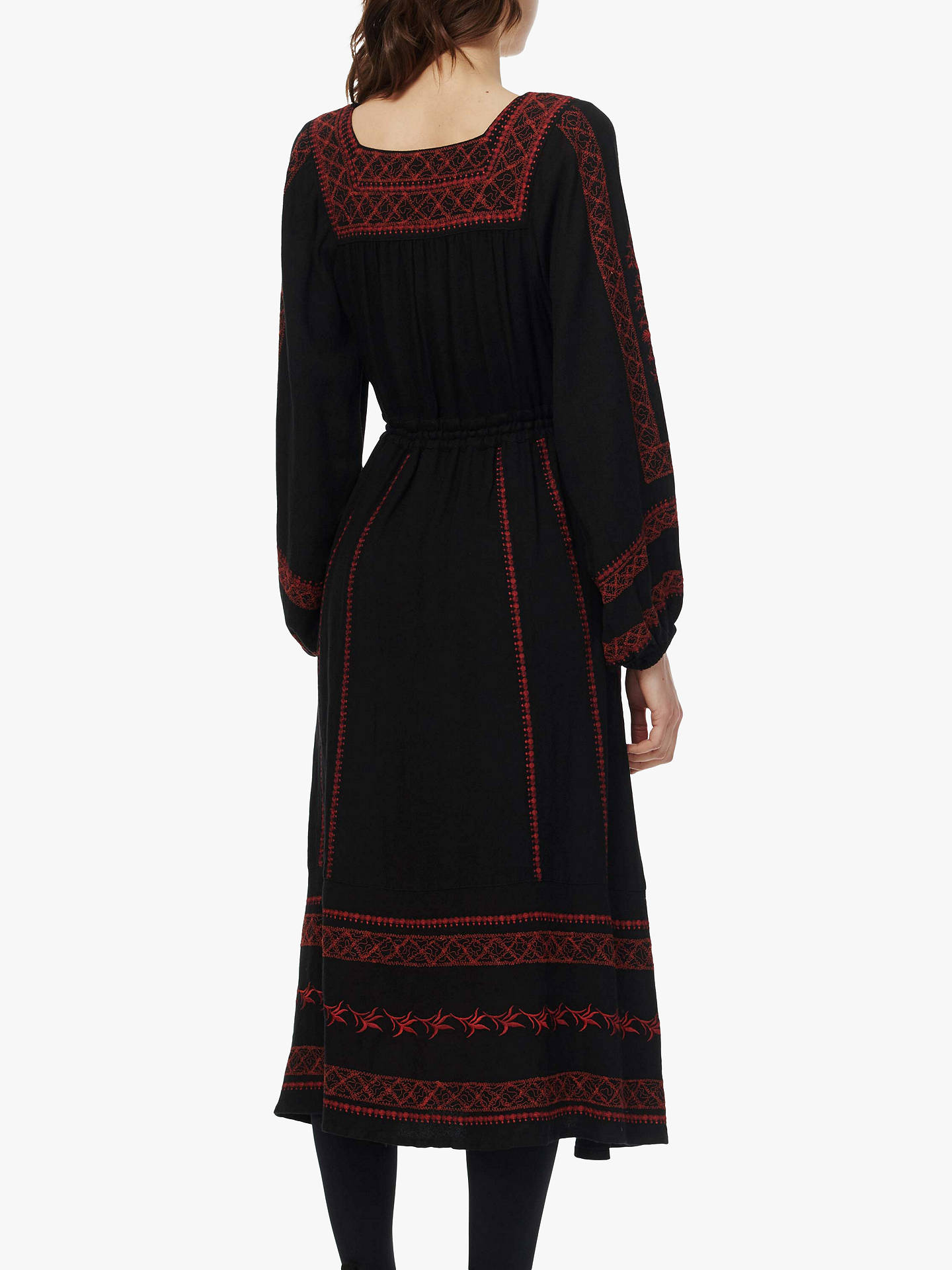 Buy Brora Embroidered Folk Maxi Dress, Black/Clay, 6 Online at johnlewis.com