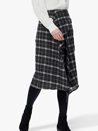 Brora Waterfall Check Wool Skirt, Charcoal