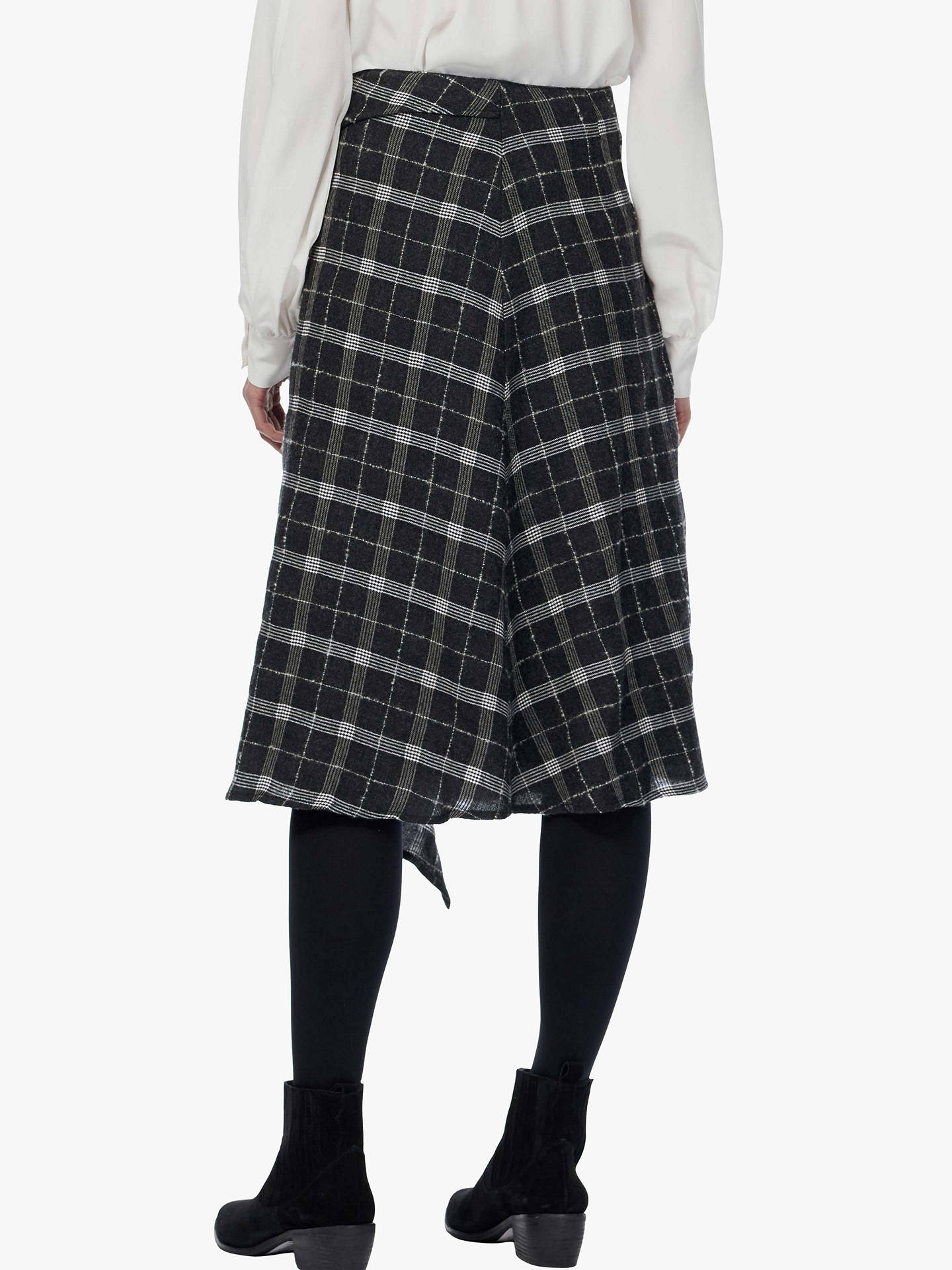 BuyBrora Waterfall Check Wool Skirt, Charcoal, 8 Online at johnlewis.com