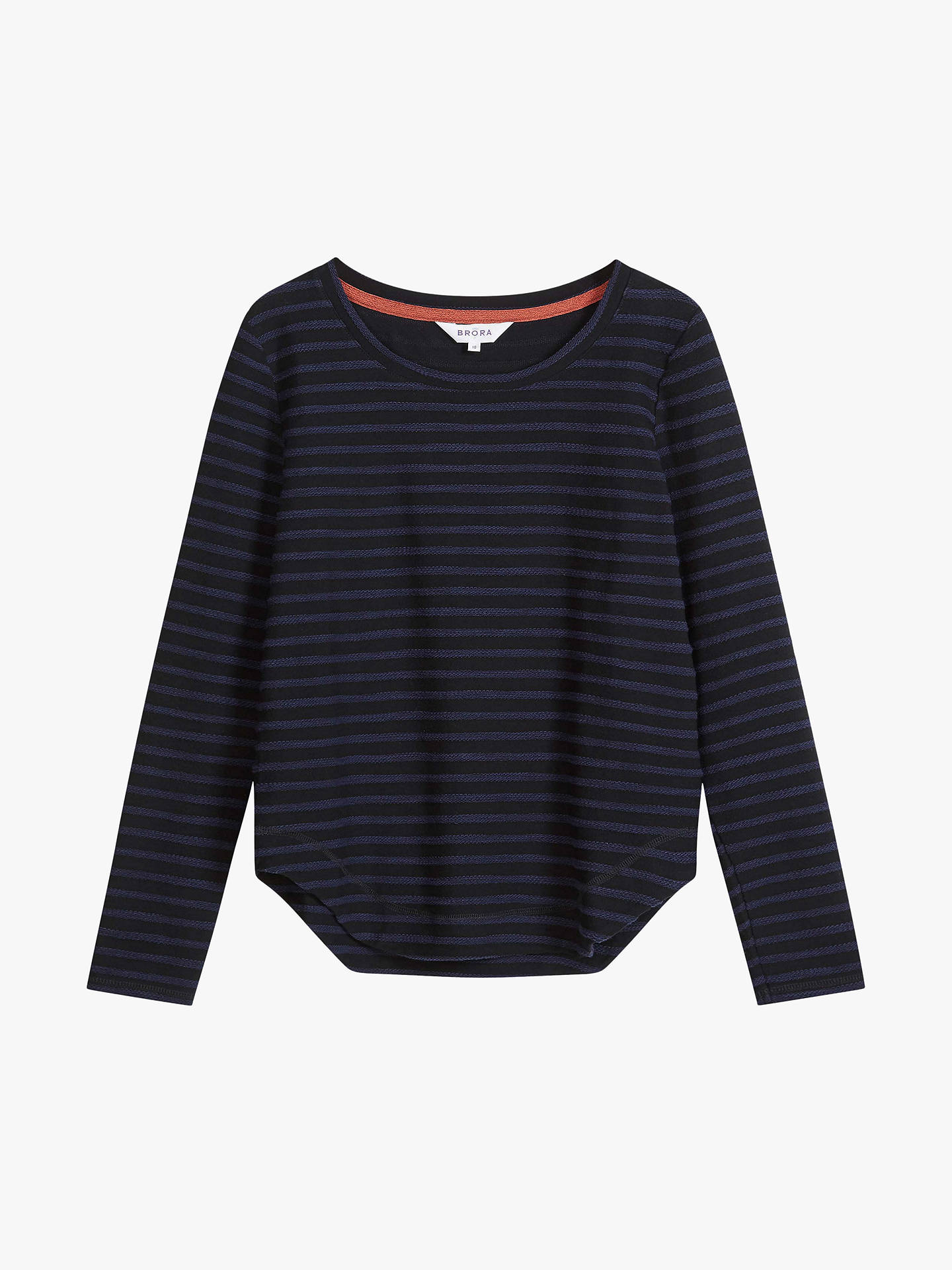 Buy Brora Textured Stripe Top, Black and Navy, 8-10 Online at johnlewis.com