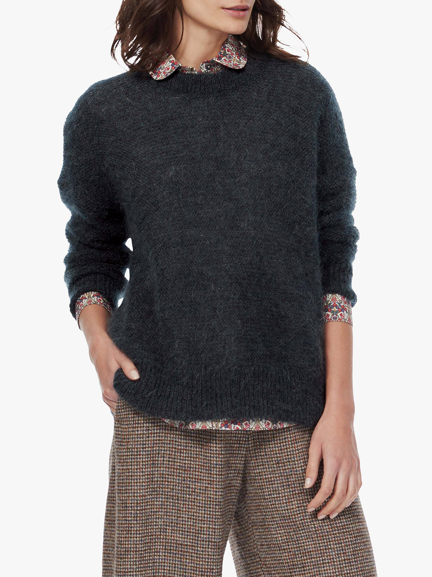 BuyBrora Generous Fit Mohair-Blend Jumper, Charcoal, 8-10 Online at johnlewis.com