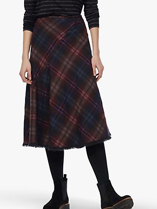 Brora Tweed Check Skirt, Bitter Chocolate