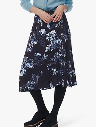 Brora Button Detail Flared Floral Midi Skirt, Navy/Sea Salt