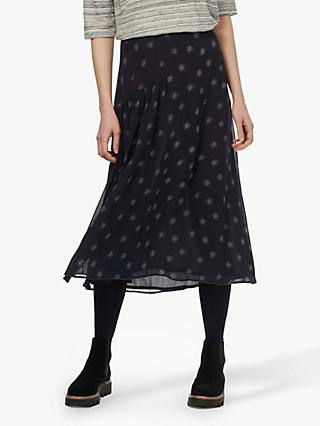 Brora Silk Chiffon Skirt, Midnight Star