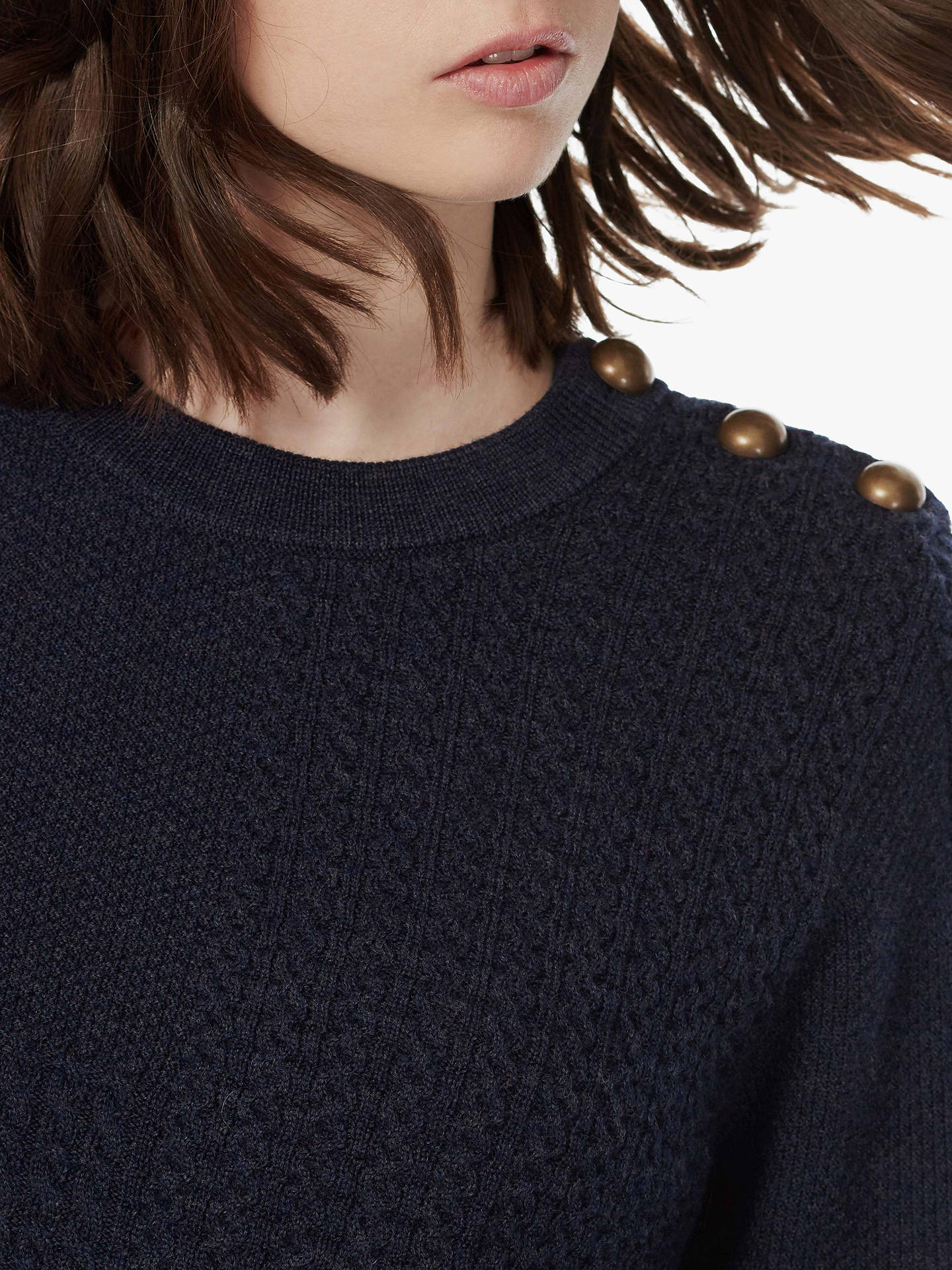 BuyBrora Merino Arran Knit Jumper, Ink, 8-10 Online at johnlewis.com