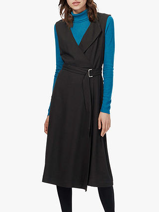 Buy Brora Wool Mix Crepe Faux Wrap Dress, Black, 8 Online at johnlewis.com
