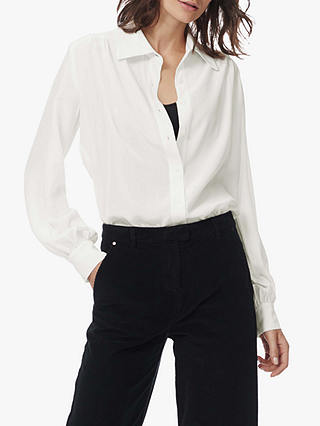 Buy Brora Sandwashed Silk Shirt, White, 6 Online at johnlewis.com