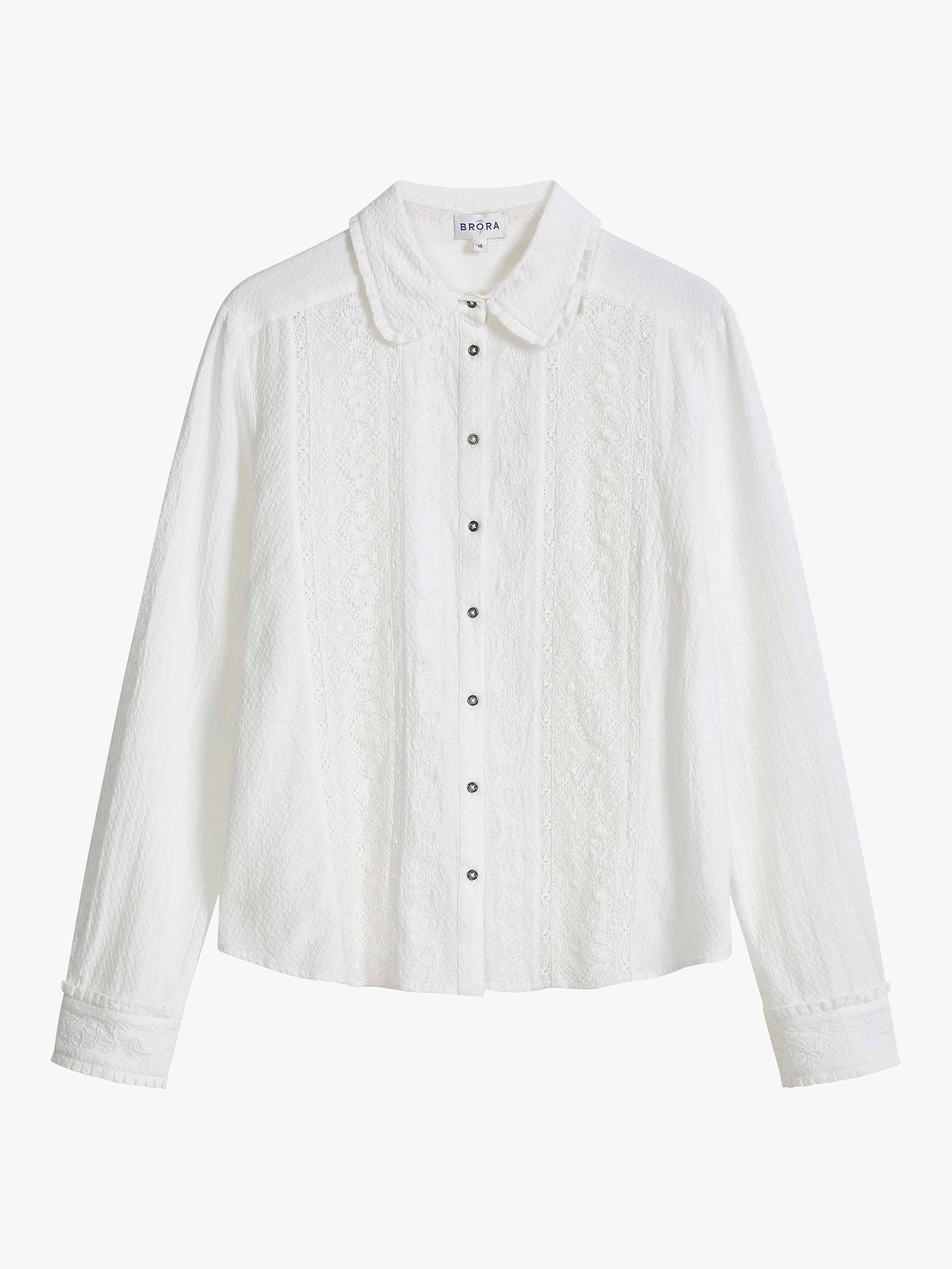 Buy Brora Lace Embroidered Blouse, White, 6 Online at johnlewis.com