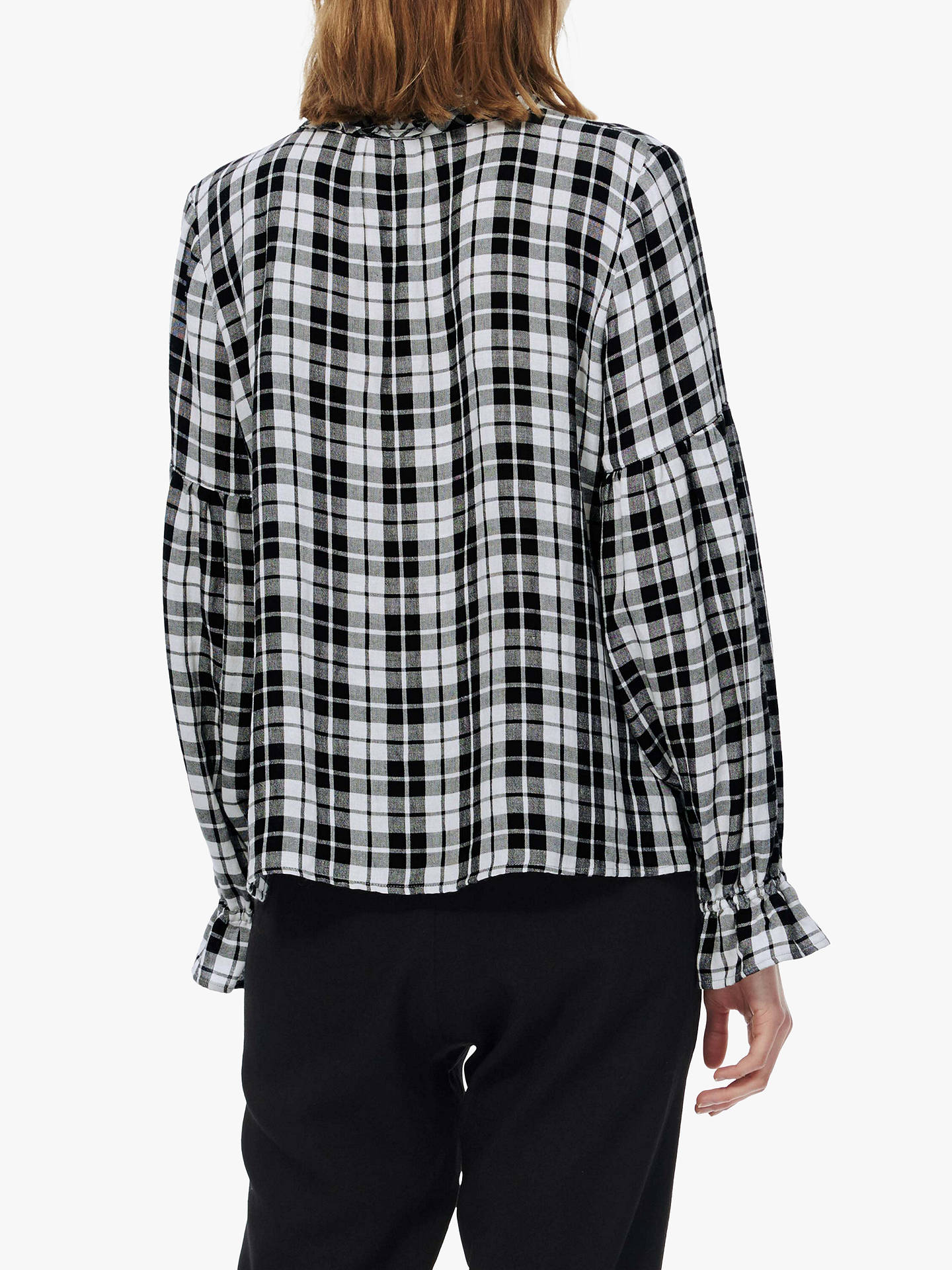 BuyBrora Ruffle Check Blouse, Monochrome, 6 Online at johnlewis.com